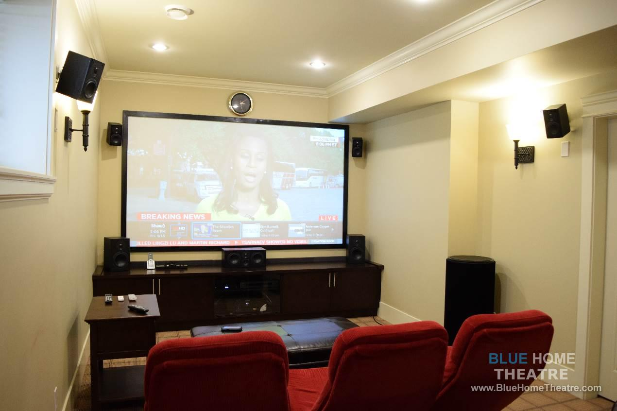 projector and screen installation in apartment suite home theater design and installation. beautiful ideas. Home Design Ideas